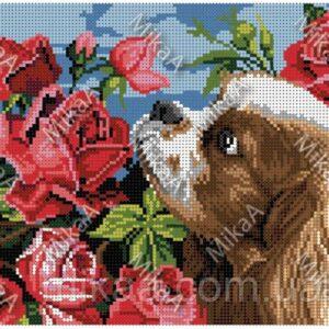 """""""Il cane giardiniere. Rose"""". Schema ricamo a perline"""