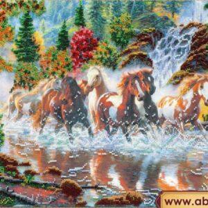 """Sette cavalli"". Kit ricamo a perline"