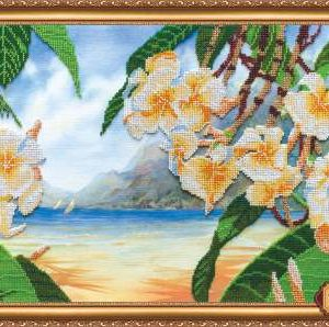 """Brezza hawaiana"". Kit ricamo completo di perline"