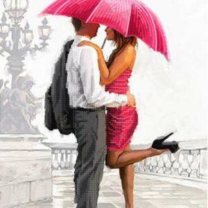Incontro romantico sotto ombrello