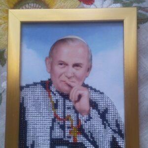 """Papa Giovanni Paolo II"". Quadro ricamato"