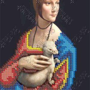 """""""La Dama con l'ermellino di Leonardo Da Vinci"""". Schema ricamo a perline"""