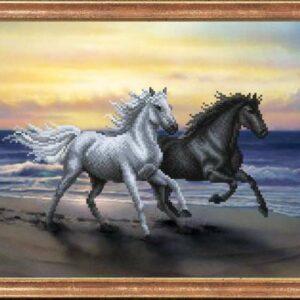 """""""Coppia di cavalli"""". Schema ricamo a perline"""