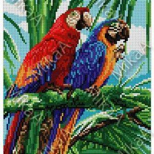 """Due pappagalli"". Schema ricamo a perline"