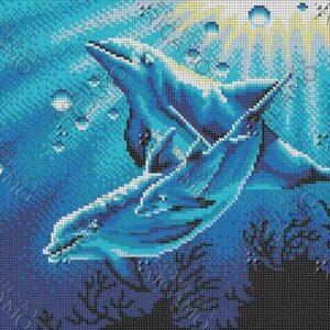 """""""Famiglia dei delfini"""". Schema ricamo a perline"""