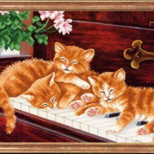 """""""Gattini su pianoforte"""". Schema ricamo a perline"""