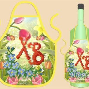 """""""Grembiule per bottiglia.Buona Pasqua"""". Schema ricamo a perline"""