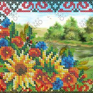 """""""Paesaggio ucraino con ornamento"""". Schema ricamo a perline"""