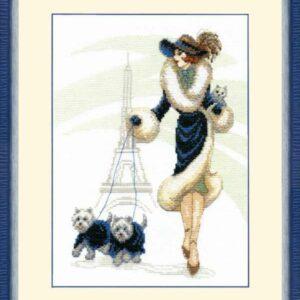 """Passeggiata a Parigi"". Kit ricamo punto croce"