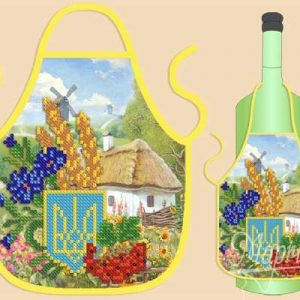 """Grembiule per bottiglia.Ucraina"". Schema ricamo a perline"