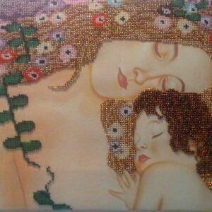 """""""Le Tre Età della Vita""""(frammento) di Gustav Klimt. Quadro ricamato a perline"""