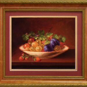 """""""Natura morta di frutta con uva, prugne e fragoline"""". Schema ricamo a perline"""