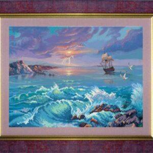 """""""Nave nel mare"""". Schema ricamo a perline"""