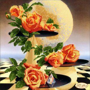 """""""Rose e luna"""" di Ilene Meyer. Schema ricamo a perline"""