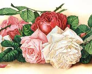 """""""Study of Roses"""" di  Paul de Longpre. Schema ricamo a perline"""