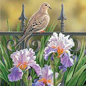 """""""Uccellino nel parco. Iris barbate"""". Schema ricamo a perline"""
