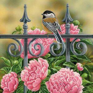 """""""Uccellino nel parco. Peonie"""". Schema ricamo a perline"""