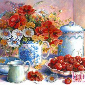 """""""Vintage. Natura morta con fiori e frutta-02"""". Kit ricamo a perline"""