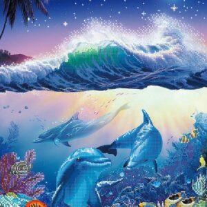 """""""Abitanti del mare. Delfini """". Schema ricamo a perline"""