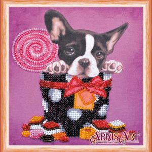 """Dolce vita. Boston Terrier"". Mini-kit ricamo a perline"