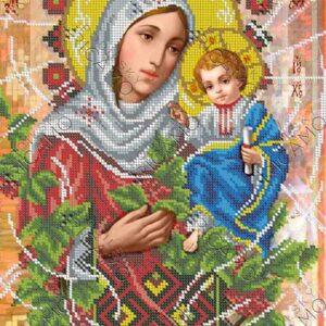 """""""Madonna con Gesù bambino. Bacche del Viburnum rosso"""". Schema ricamo a perline"""