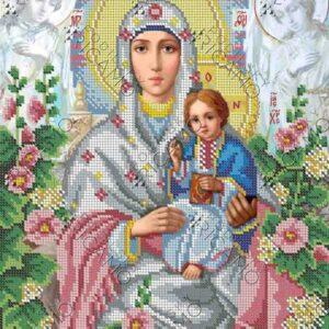 """""""Madonna con Gesù bambino. Malva"""". Schema ricamo a perline"""
