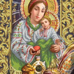 """""""Madonna con Gesù bambino. Uovo di Pasqua"""". Schema ricamo a perline"""