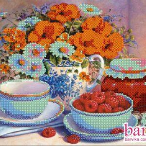"""""""Marmellata di lamponi. Natura morta con fiori e frutta"""". Schema ricamo a perline"""