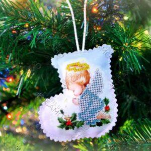 """""""Angelo"""". Pallina di Natale ricamo a perline"""