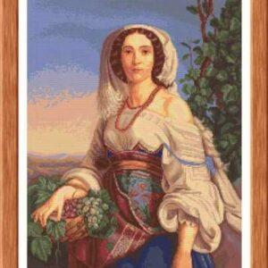 """Donna Napoletana"". Kit ricamo punto croce"