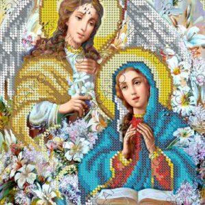 """""""L'Annunciazione a Maria"""". Schema ricamo a perline"""