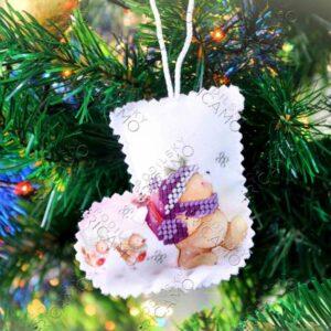 """""""Orsetto"""". Pallina di Natale ricamo a perline"""