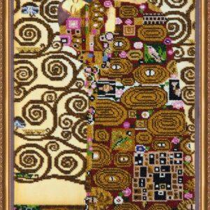 """""""L'albero della vita. Abbraccio"""" di Gustav Klimt. Kit ricamo a perline"""