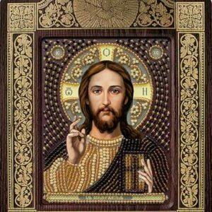 """""""Gesù Cristo"""". Kit-icona ricamo a perline, con cornice"""