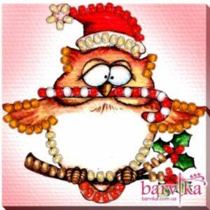 """Gufo natalizio"". Kit-calamita ricamo a perline"