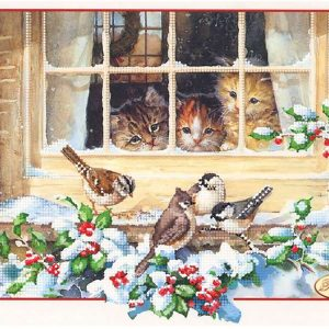 """""""In attesa di Natale. Gattini"""". Schema ricamo a perline"""