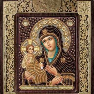 """""""La Madonna con Tre mani'"""". Kit-icona ricamo a perline, con cornice"""