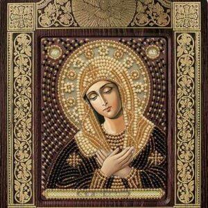 """""""Madonna dell'Umiltà"""". Kit-icona ricamo a perline, con cornice"""