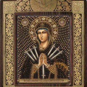 """""""Madonna I sette dolori"""". Kit-icona ricamo a perline, con cornice"""