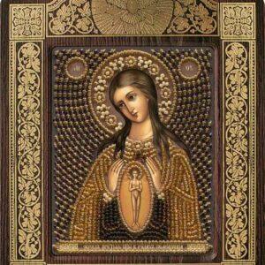 """""""Madonna La protezione nell'ora del parto"""". Kit-icona ricamo a perline, con cornice"""