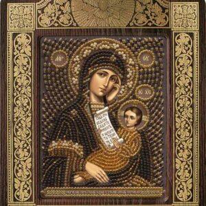 """""""Madonna protegge dalle sofferenze"""". Kit-icona ricamo a perline, con cornice"""