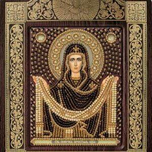 """""""Madonna Protezione della Madre di Dio"""". Kit-icona ricamo a perline, con cornice"""