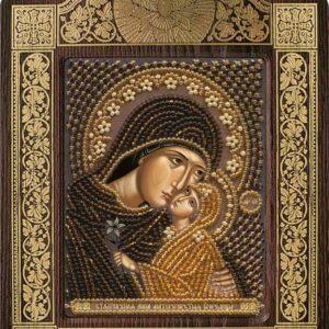 """""""Sant'Anna con piccola Maria"""". Kit-icona ricamo a perline, con cornice"""
