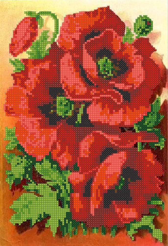 I papaveri rossi schema ricamo a perline perlinissima for Quadri con papaveri rossi