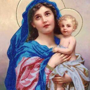 """Madonna col Bambino"" di Hans Zatzka. Kit ricamo a perline"