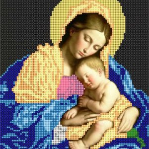"""""""Madonna con Bambino dormiente"""" di Giovanni Battista Salvi. Schema ricamo a perline"""