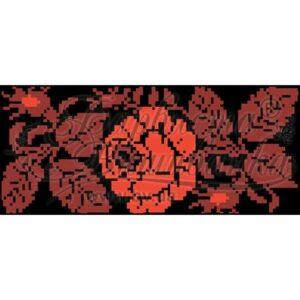 """""""La rosa rossa"""". Borsetta-pocket ricamo a perline, nera"""