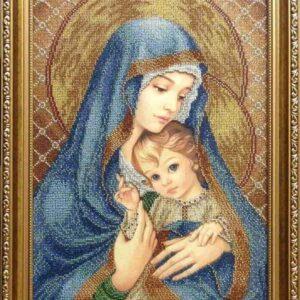 """""""Madonna con Bambino. Blu""""-02 di Zorina Baldescu. Schema ricamo a perline"""