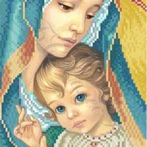 """""""Madonna con Bambino. Blu"""" di Zorina Baldescu. Schema ricamo a perline"""