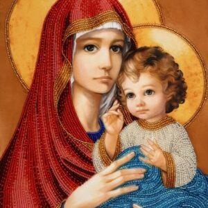 """""""Madonna con Bambino"""" in rosso di Zorina Baldescu. KIT ricamo a perline"""